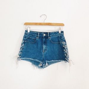 Pacsun | Cow Girl Lace Up Denim Shorts